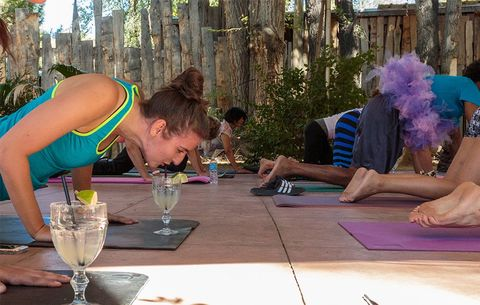 yoga with margaritas and pigs