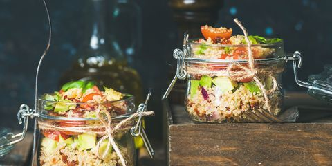meal prep glass containers with quinoa salad