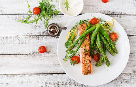 healthy dinner of salmon and asparagus