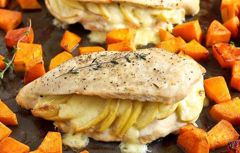 Apple Gouda Stuffed Chicken Breasts With Smoky Roasted Sweet Potatoes; chicken breast recipes
