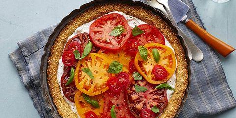 fresh tomato tart with quinoa crust