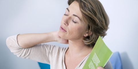 woman looking uncomfortable because of hot flash