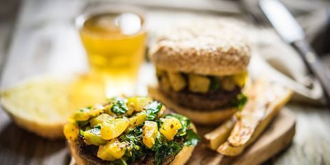 Healthy burger and baked fries