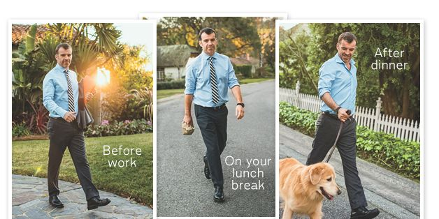 Man walking at different times of day