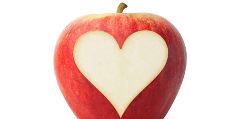 health diet can prevent heart attacks; apple with heart cutout