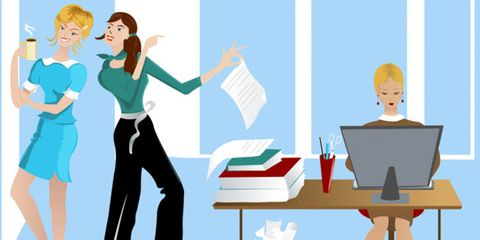 office productivity affected by noise; women at work