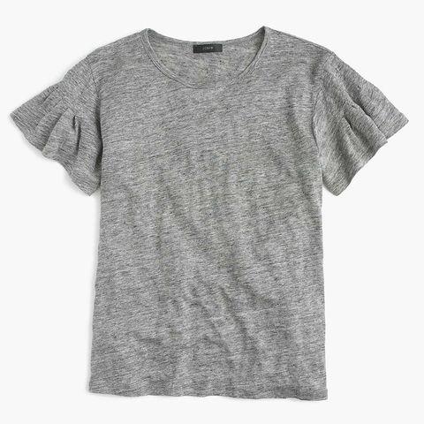J.Crew Linen Flutter-Sleeve T-shirt