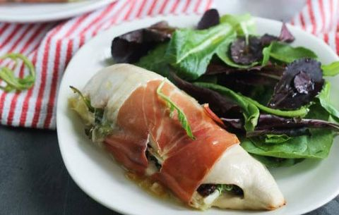 Prosciutto Wrapped Cranberry, Arugula, & Brie Stuffed Chicken, chicken breast recipes