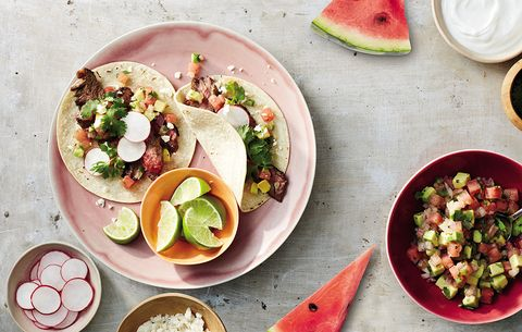steak taco with watermelon salsa