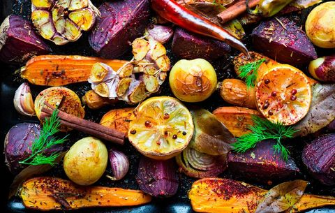 Roasted vegetables on overcrowded baking sheet