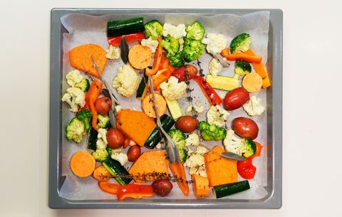 Chopped vegetables in a pan for roasting