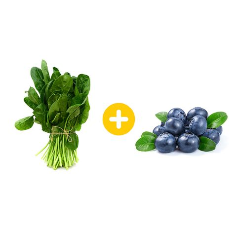 spinach and blueberries