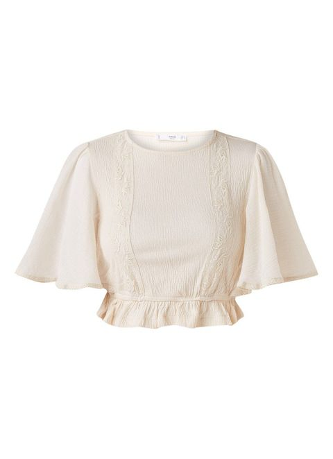 Clothing, White, Sleeve, Outerwear, Beige, Blouse, Top, Crop top, Neck, T-shirt,