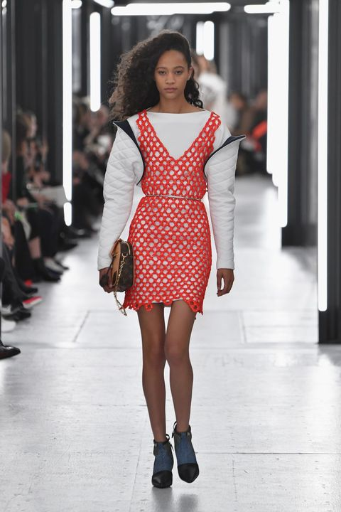 Fashion model, Fashion show, Fashion, Runway, Clothing, Shoulder, Beauty, Dress, Public event, Haute couture,
