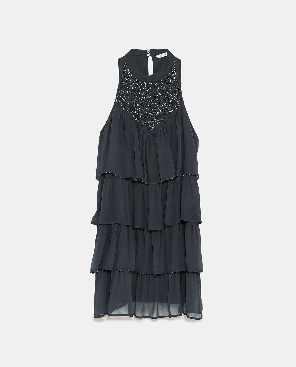 Vestido perlas zara negro