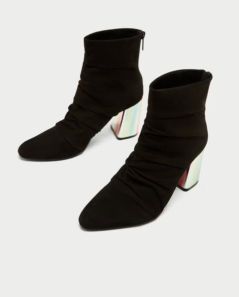 Footwear, Shoe, Black, Boot, Suede, Leather, High heels, Human leg,