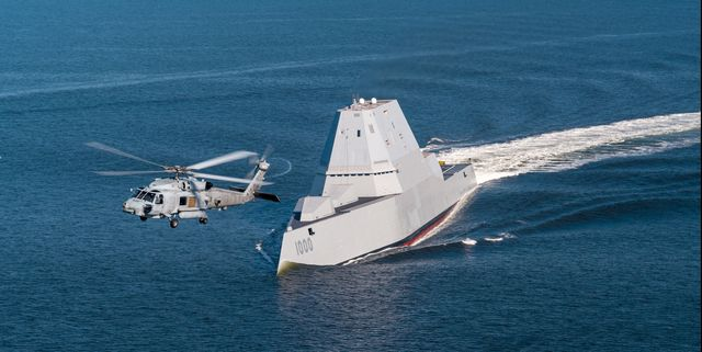 161017 n ce233 334chesapeake bay, md oct 17, 2016 an sh 60r assigned to air test and evaluation squadron hx 21 flies near uss zumwalt ddg 1000 as the ship travels to its new home port of san diego, california zumwalt was commissioned in baltimore, maryland, oct 15 and is the first in a three ship class of the navy's newest, most technologically advanced multi mission guided missile destroyers us navy photo by liz wolterreleased