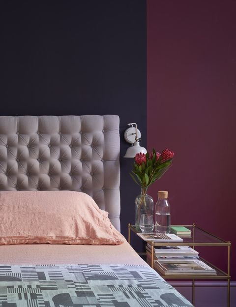 Farrow & Ball Preference Red paint in a bedroom