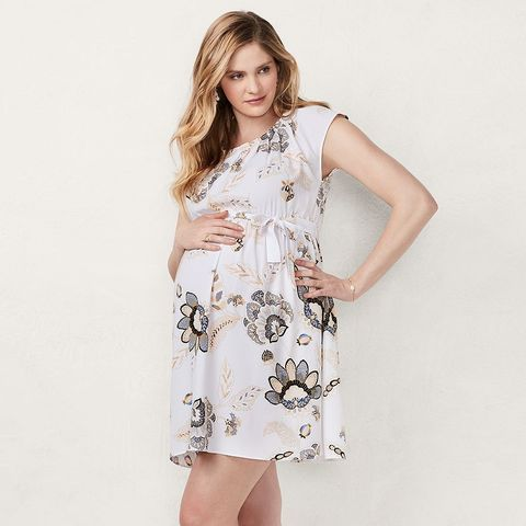 533065c9d63c1 Pleated Fit and Flare Dress in Samira Bloom, LC LAUREN CONRAD MATERNITY, ...