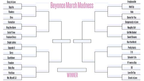A Beyonce March Madness Bracket Is Tearing My Friends Apart What Is The Best Beyonce Song