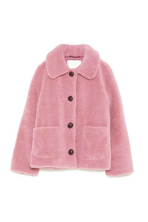 Clothing, Outerwear, Pink, Sleeve, Fur, Collar, Coat, Jacket, Button, Pocket,