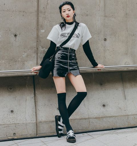 Clothing, Fashion model, Street fashion, Fashion, Knee, Leg, Waist, Snapshot, Sock, Photo shoot,