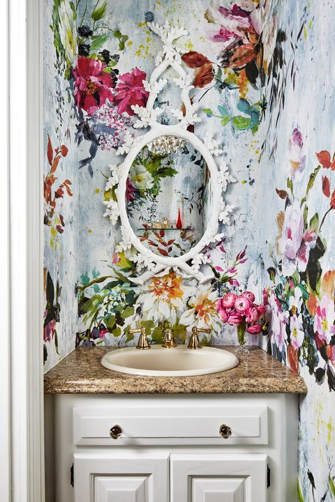 Room, Wall, Interior design, Curtain, Wallpaper, Plant, Flower, Window, Textile, Floral design,