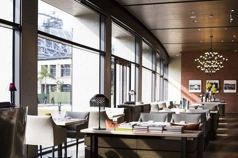 Restaurant, Building, Interior design, Room, Table, Architecture, Cafeteria, Ceiling, Furniture, Café,