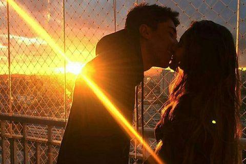 Light, Sky, Love, Backlighting, Romance, Interaction, Photography, Kiss, Sunlight, Tree,