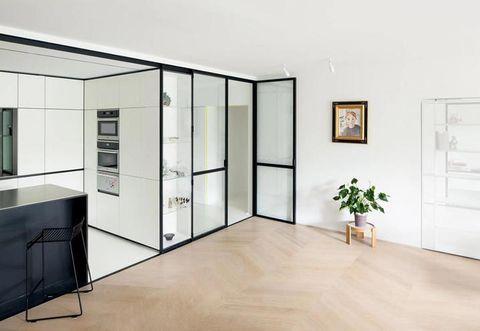 Room, Floor, Interior design, Flooring, Wall, Flowerpot, Ceiling, Picture frame, Fixture, Wood flooring,