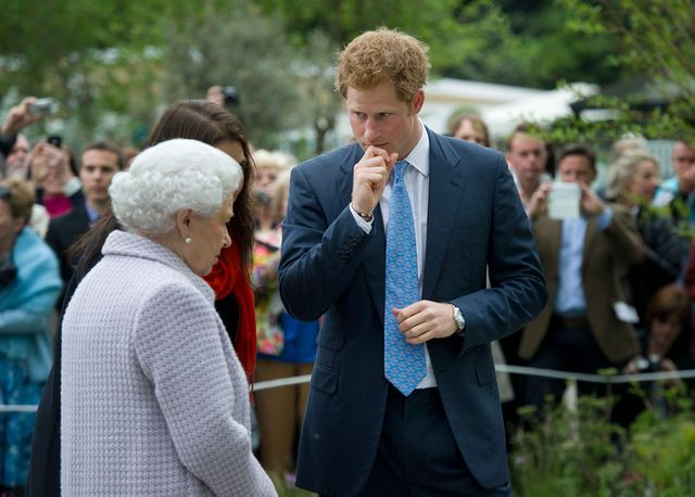 2cww7t3 britain's queen elizabeth l speaks to prince harry c as she visits his sentebale 'forget me not' garden, representing prince harry's sentebale charity, during a visit to the chelsea flower show in central london may 20, 2013 the annual show opens to the public on tuesday reutersgeoff pughpool  britain   tags entertainment environment society royals