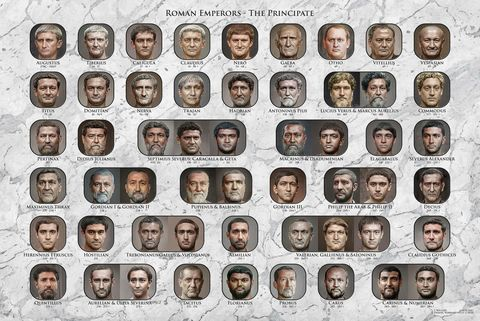 54 Roman emperors in a print that looks photorealistic