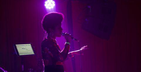 Performance, Entertainment, Music, Performing arts, Violet, Purple, Musician, Music artist, Light, Song,
