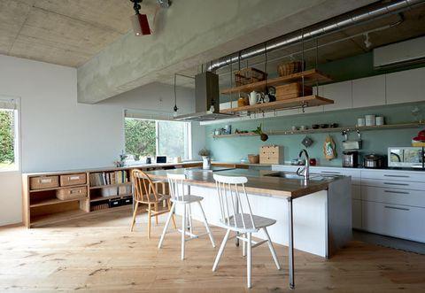 Wood, Room, Floor, Interior design, Flooring, Hardwood, Countertop, Ceiling, Home, Cupboard,