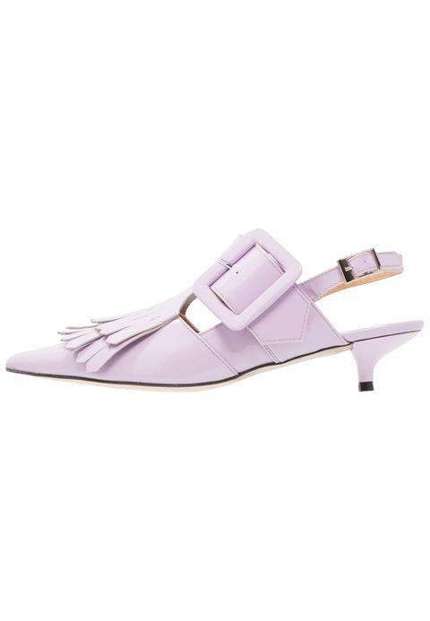 Footwear, White, Purple, Shoe, Violet, Sandal, Slingback, Mary jane, Lilac, Buckle,