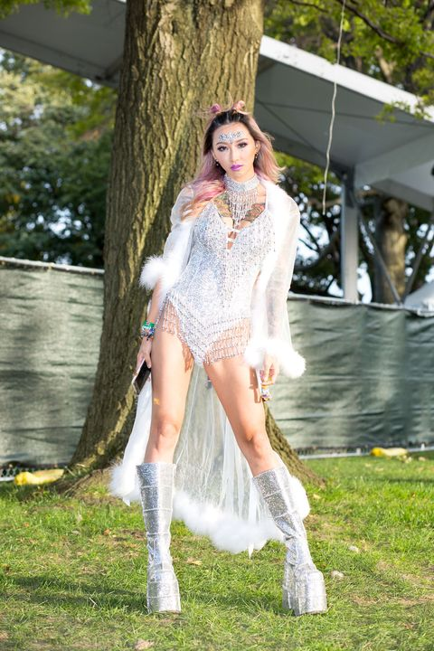 White, Photograph, Clothing, Beauty, Fashion, Street fashion, Footwear, Grass, Tree, Long hair,