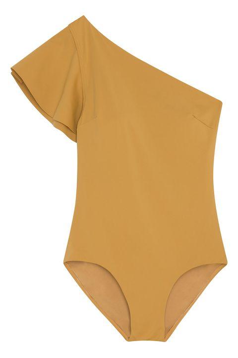 Clothing, Briefs, Yellow, Leotard, Swimsuit bottom, Swim brief, Undergarment, Swimwear, Sleeve, Neck,