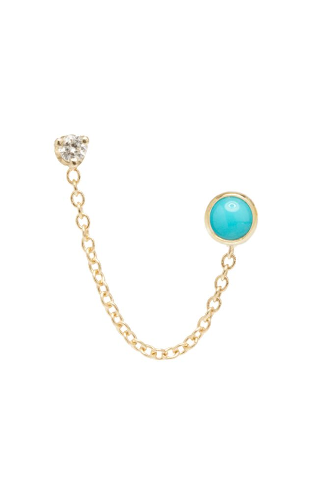 The Alkemistry  Gold And Turquoise Earring