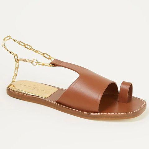 sandro sandaal van leer met kettingdetail