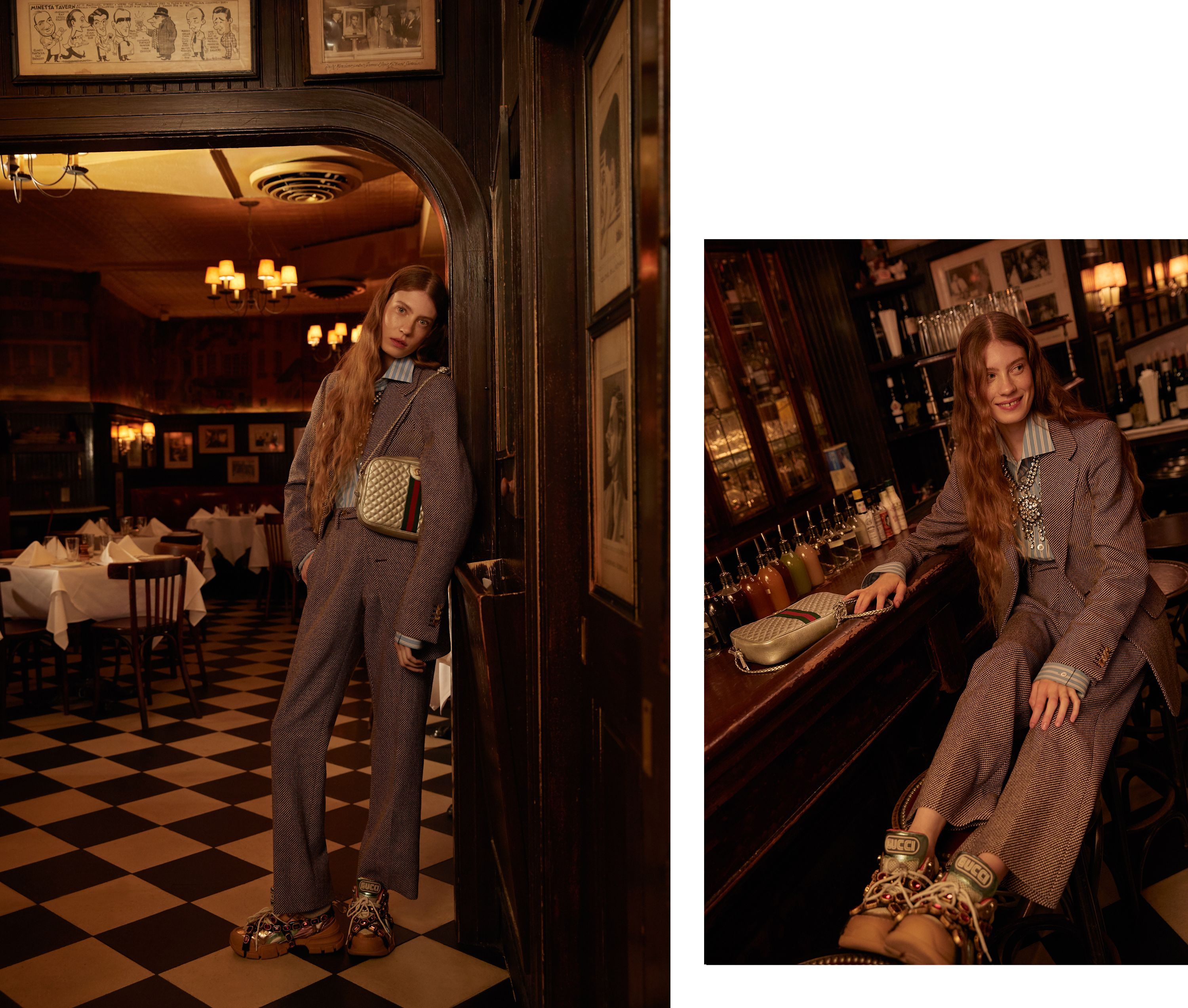 A model wearing Gucci standing in a bar