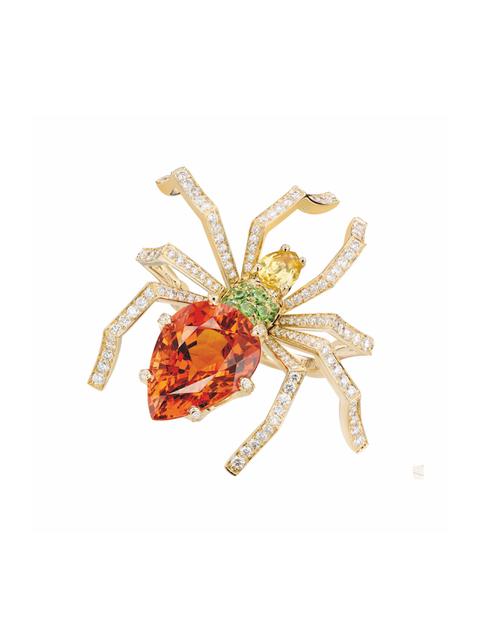 Orange, Spider, Brooch, Insect, Fashion accessory, Jewellery, Invertebrate, Gemstone, Arachnid,