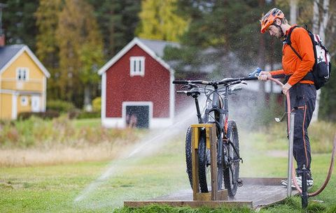 Bicycle, Cycling, Vehicle, Cycle sport, Mountain bike, Bicycle wheel, Recreation, Tree, Grass, Autumn,