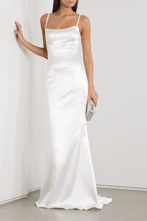 net a porter halfpenny london white satin bridal wedding dress