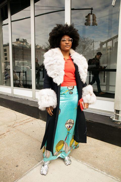 Street fashion, Fur, White, Clothing, Turquoise, Fashion, Snapshot, Yellow, Pink, Fur clothing,
