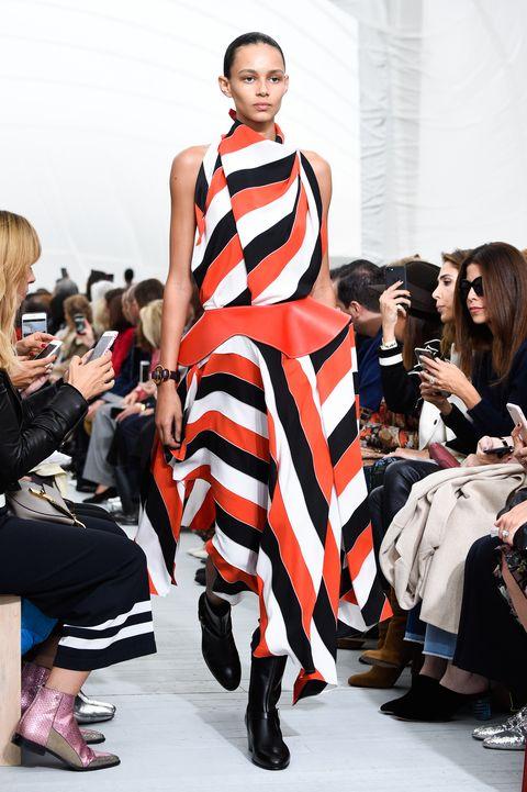 Fashion model, Runway, Fashion, Fashion show, Clothing, Fashion design, Dress, Event, Haute couture, Street fashion,