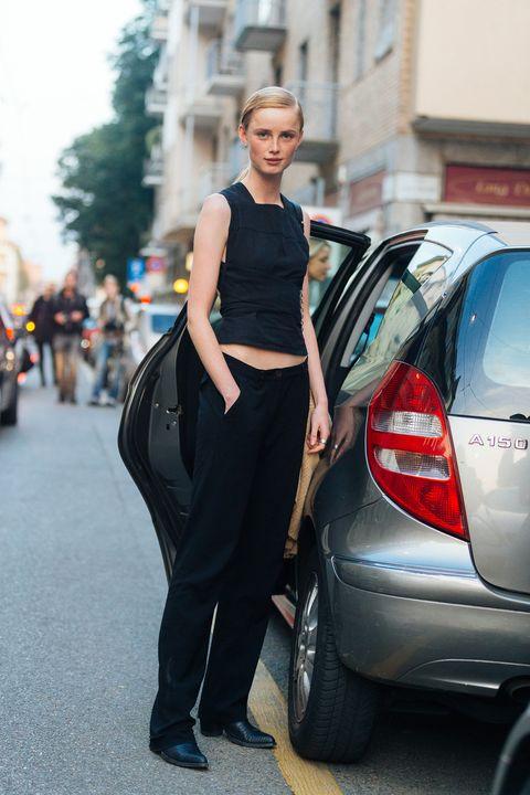 Street fashion, Fashion, Vehicle, Beauty, Car, Snapshot, Street, Yellow, Human, Footwear,