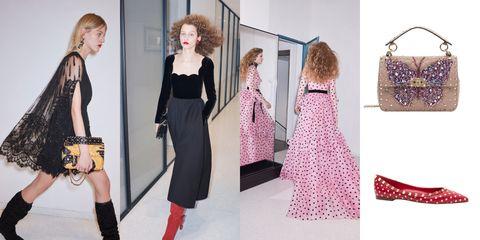 Clothing, Fashion, Fashion model, Dress, Shoulder, Pink, Fashion design, Footwear, Outerwear, Fashion accessory,