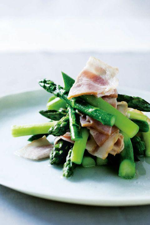 Food, Cuisine, Dish, Ingredient, Asparagus, Prosciutto, Vegetable, Produce, Recipe, Spinach salad,