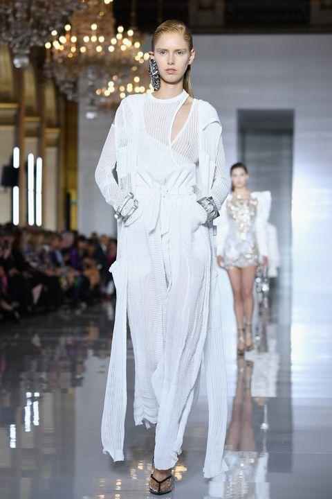 Fashion model, Fashion, White, Runway, Fashion show, Clothing, Haute couture, Fashion design, Event, Dress,