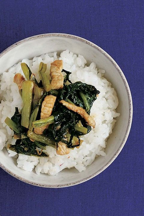 Food, Dish, Cuisine, Steamed rice, White rice, Ingredient, Rice, Wakame, Produce, Namul,